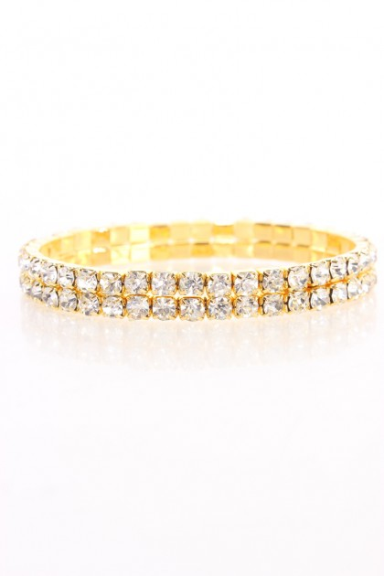 Gold High Polish Metal Rhinestone Cute Bracelet
