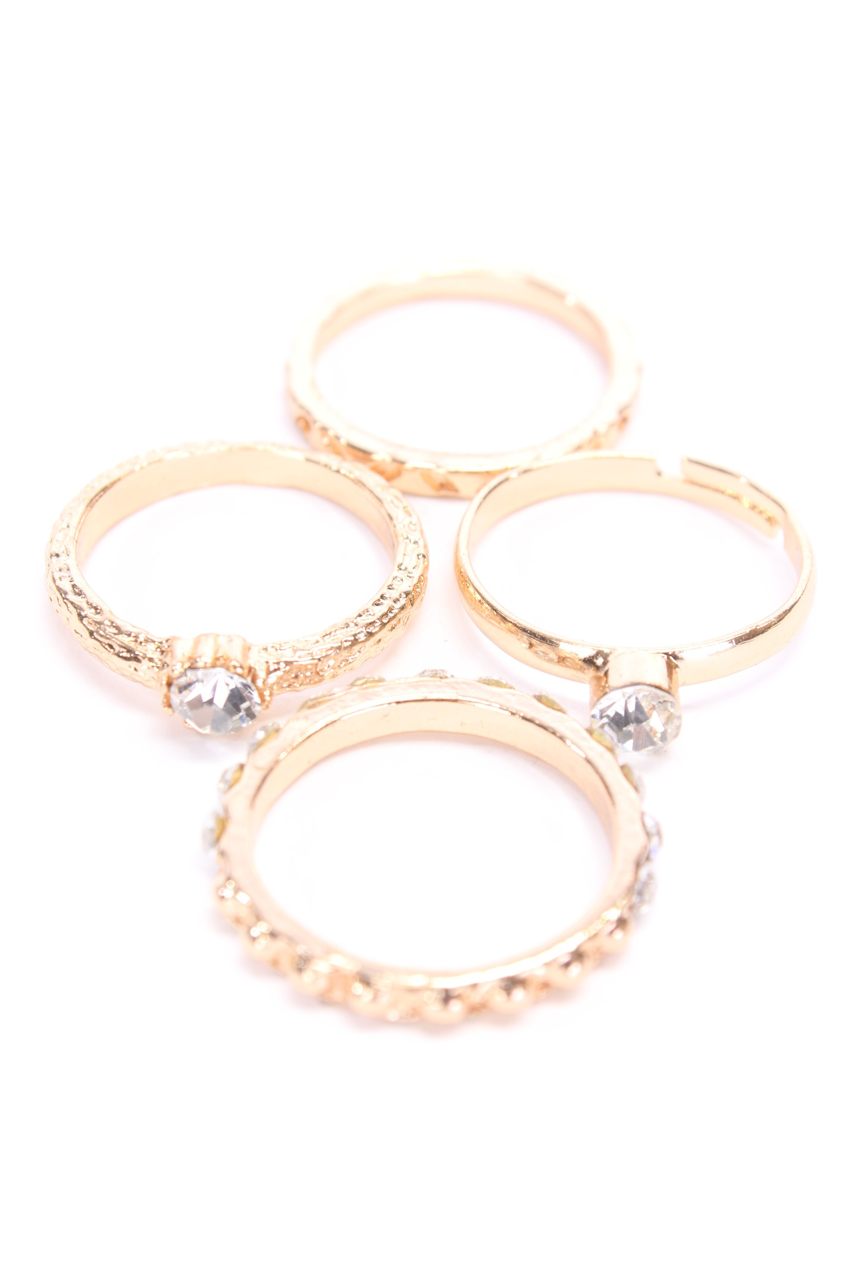 Gold High Polish Metal Cute Assorted Ring Set