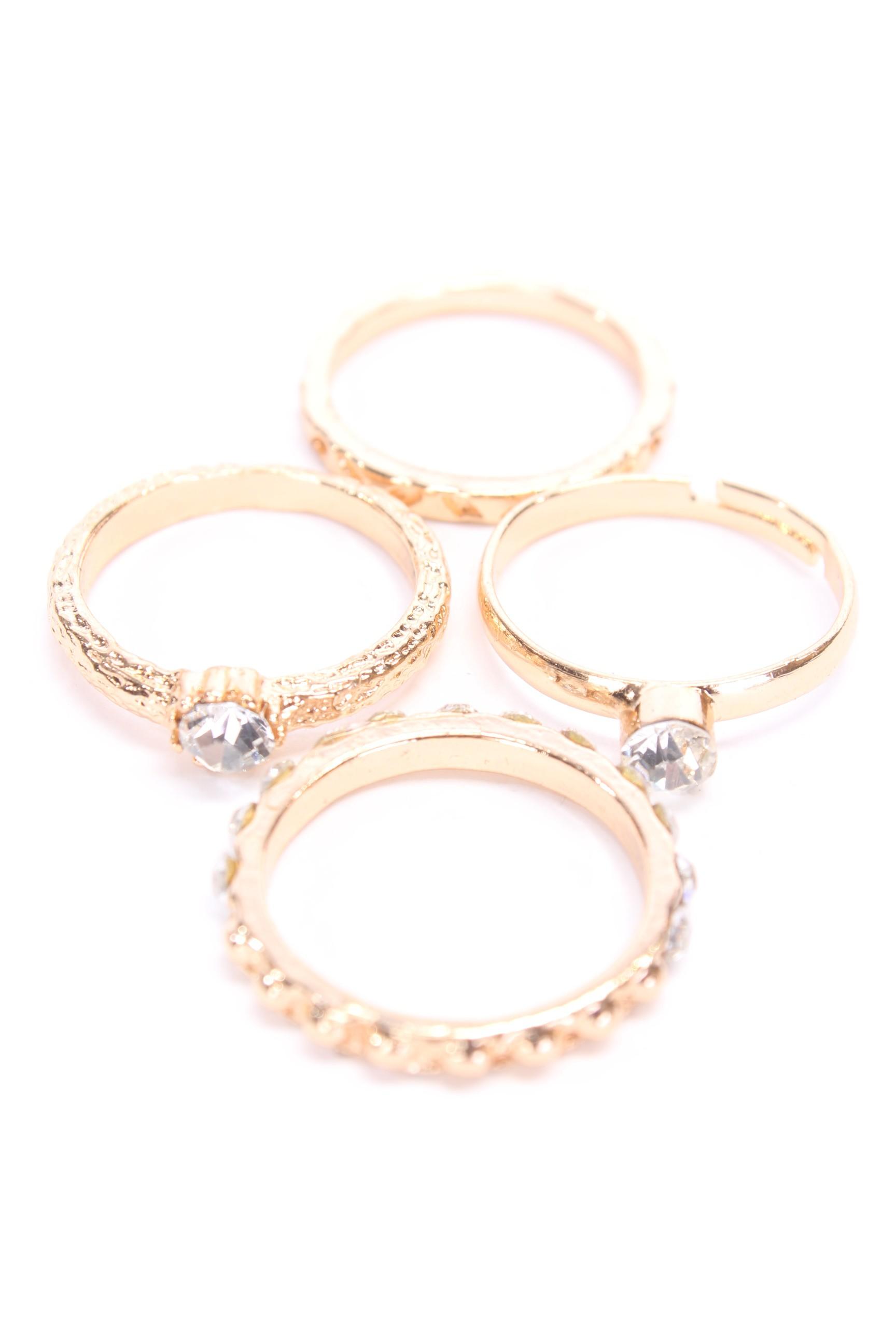 Gold High Polish Metal Cute Assorted Ring Set