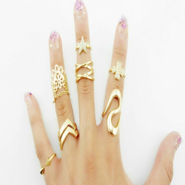7PCS Suit of Sweet Women's Star Leaf Rings