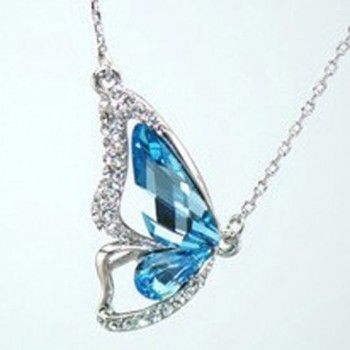 Chic Butterfly Rhinestone Necklace For Women (BLUE)