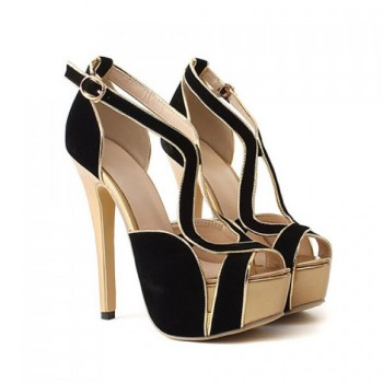 Wholesale Gorgeous Suede and Sexy Gold High Heel Design Women