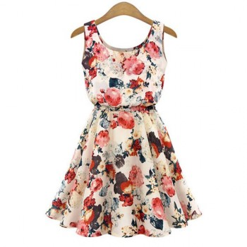 Wholesale Stylish Scoop Collar Sleeveless Floral Print A-Line Chiffon Women