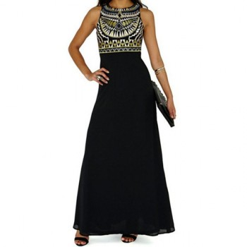Ethnic Print Fashionable Round Collar Sleeveless Maxi Dress For Women