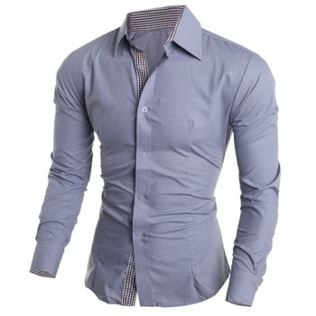 Modern Style Shirt Collar Color Block Plaid Spliced Long Sleeves Slimming Shirt For Men