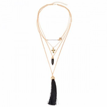 Ethnic Cross Bullet Layered Tassels Necklace For Women