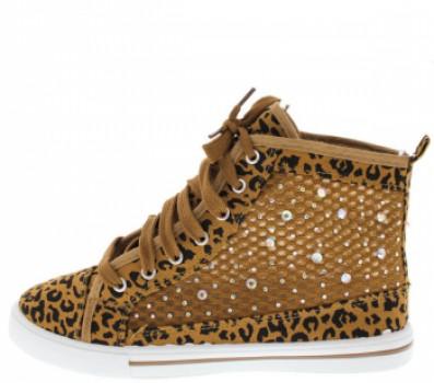 Leopard Mesh Sneaker Flat