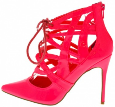 Ibiza Coral Patent Pointed Toe Lace Up Heel