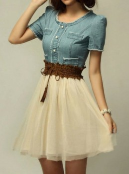 Elegant Women�s Scoop Neck Short Sleeve Denim Splicing Chiffon Dress With Belt