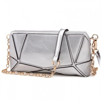 Elegant Geometric Print and Chain Design Women's Clutch Bag