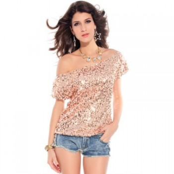 Sexy One Shoulder Short Sleeve Sequined T-Shirt For Women