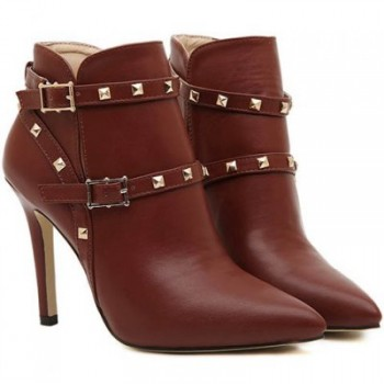 Fashion Pointed Toe and Rivets Design Women's Stiletto Short Boots