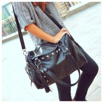 Retro Style Stud Embellished and Zipper Design One-Shoulder Bag/Slanting Bag