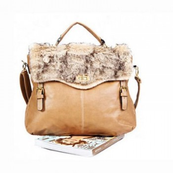 Retro Style Fur Embellished and Covered Handbag/Slanting Bag/One-Shoulder Bag For Female  -  KHAKI