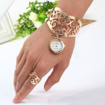Ailisha Ring Bracelet Women Quartz Watch with Hollow-out Pattern Steel Band  -  GOLDEN
