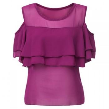 Stylish Off-The-Shoulder Round Neck Flounced Women's Chiffon Blouse