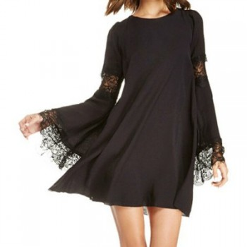 Stylish Scoop Collar Long Flare Sleeve Lace Embellished Women's Dress
