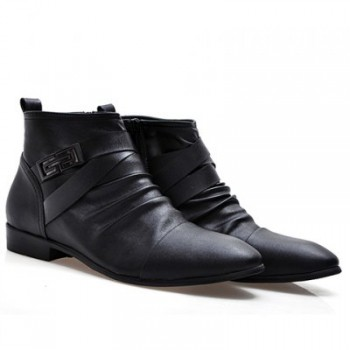 Trendy Style Pointed Toe and Buckle Design Men's Boots