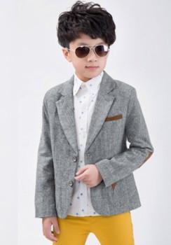 Stylish Long Sleeve Lapel Spliced Pocket Blazer For Boys