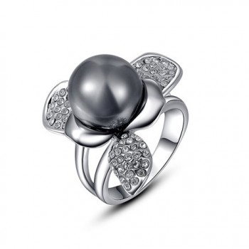 Elegant Diamante Big Gray Faux Pearl Embellished Alloy Ring For Women
