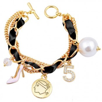 Trendy Faux Pearl High-Heeled Shoe Layered Charm Bracelet For Women