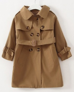 Casual Long Sleeve Solid Color Double-Breasted Slit Girl's Trench
