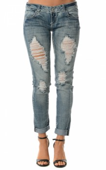 Navy Denim Distressed Boyfriend Jeans