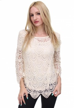 Taupe Crochet Bell Sleeve Blouse