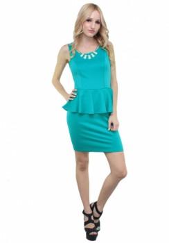 Blue Necklace Peplum Dress