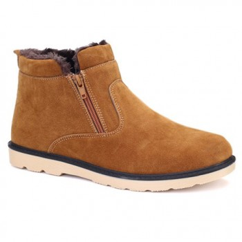 Laconic Men's Short Boots With Plush and Suede Design