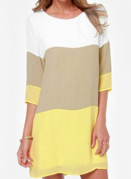 Casual Round Neck 3/4 Sleeve Color Block Loose-Fitting Dress For Women