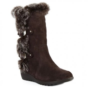 Trendy Women's Mid-Calf Boots With Buckles and Faux Fur Design