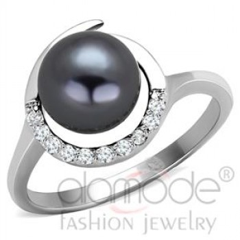 Rhodium Pearl Ring
