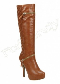 Below Knee Thigh High Boots  With One Zipper In Ankle And Top