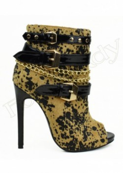 Heel Style Booties With Tree Buckle And Chain Open Toe Zipper On The Side Dana-AA