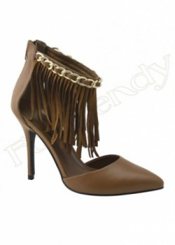 Cognac Color PU Leather Women's Heel