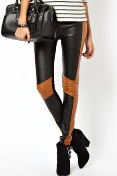 Chic High Waist Color Block PU Skinny Leggings For Women
