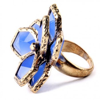 Chic Floral Faux Sapphire Ring For Women