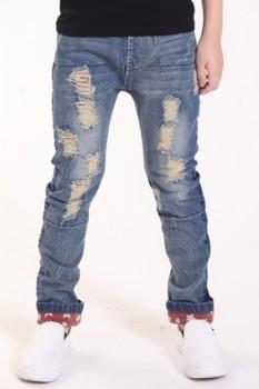 Fashionable Elastic Waist Pocket Design Boy's Ripped Jeans
