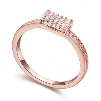 Stylish Solid Color Zircon Inlaid Ring For Women