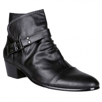 British Style Men's Boots With Zipper and Rivets Design