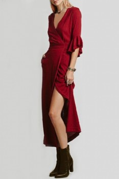 Sexy Women's Plunging Neck Solid Color Self-Tie 3/4 Sleeve Dress