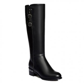 Trendy Women's Mid-Calf Boots With Pendant and Black Design