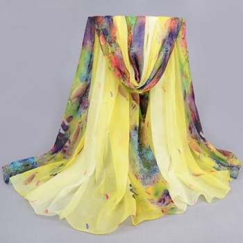 Stylish Underwater World Pattern Color Block Beach Chiffon Scarf For Women