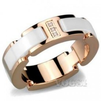 Ladys Stainless Steel Ring With Ion Rose Gold Plating