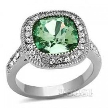 Ladys Stainless Steel High polish Crystal 10mm x 10mm Emerald Ring