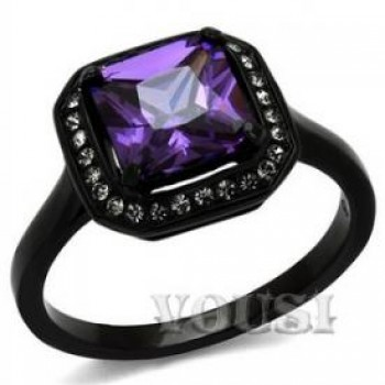 Stainless Steel IP Black Cubic Zirconia Amethyst Ladys Ring