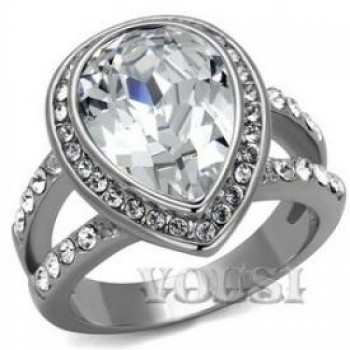 Stainless Steel High Polish Crystal Clear Ladys Ring