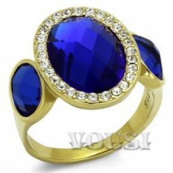 Stainless Steel IP Gold Synthetic Glass Sapphire Ladys Ring