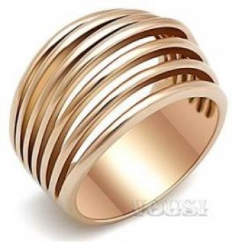 Stainless Steel Ion Rose Gold Plating Ladys Ring